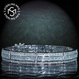 "Men's Fancy Sterling Silver .925 Bracelet with Cubic Zirconia (CZ) Stones, Box Lock, Platinum Plated. Sizes 8"" 9"". By Sterling Manufacturers"
