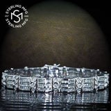 "Men's Sterling Silver .925 Bracelet with Cubic Zirconia (CZ) Stones and Box Lock, Platinum Plated. Sizes available 8"" 9"". By Sterling Manufacturers"