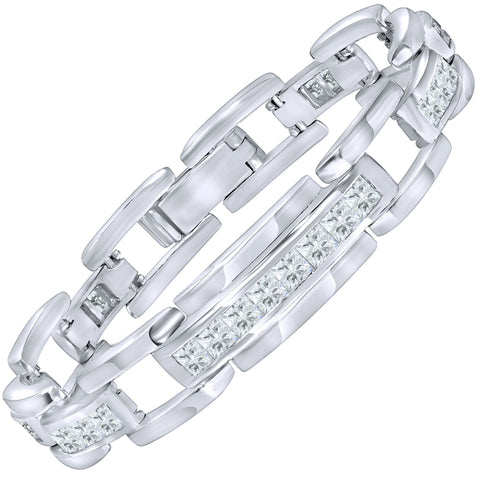 "Men's Sterling Silver .925 Bracelet with Channel-Set Princess-Cut Cubic Zirconia (CZ) Stones, Box Lock, Platinum Plated. 8"" or 9"". By Sterling Manufacturers"