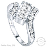 Fancy Women's Sterling Silver .925 Designer Ring Featuring 18 Round and Baguette Cubic Zirconia (CZ) Stones, Platinum Plated
