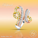 Women's 3 Tone Sterling Silver .925 Gold Rose Ring Cubic Zirconia (CZ) Stones, Platinum Plated Jewellery