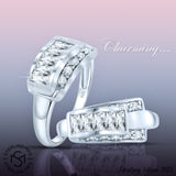 Women's Sterling Silver .925 Designer Ring with Round and Baguette Cubic Zirconia (CZ) Stones, Platinum Plated Jewellery