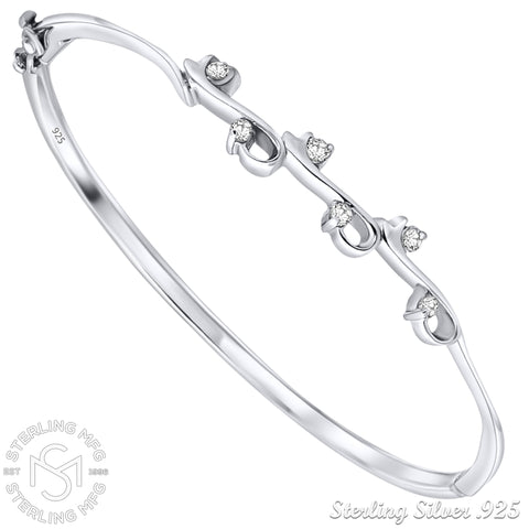 "Mother's Day Gift Women's Sterling Silver .925 Solid Sterling Silver Bangle Bracelet with Elegant Round-Cut Multi Sized Cubic Zirconia Stones, Platinum Plated, 7"" By Sterling Manufacturers"