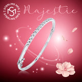 "Mother's Day Gift Women's Sterling Silver .925 Solid Sterling Silver Bangle Bracelet with Round Cubic Zirconia Stones, Tension-Set, Platinum Plated, 7"" By Sterling Manufacturers"