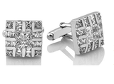 Men's Sterling Silver .925 Square Cufflinks with Cubic Zirconia Stones, Platinum Plated, 16mm by 16mm. By Sterling Manufacturers