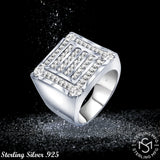 Men's Sterling Silver .925 Ring Featuring 56 Baguette and Round Cubic Zirconia (CZ) Stones, Platinum Plated. By Sterling Manufacturers