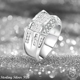 Men's Sterling Silver .925 Designer Ring Band Featuring 52 Round and Baguette Invisible and Channel Set Cubic Zirconia (CZ) Stones