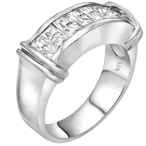 Fancy Women's Men's Unisex Sterling Silver .925 Designer Wedding Ring Band with Channel-Set Cubic Zirconia (CZ) Stones, Platinum Plated.