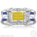 Men's Elegant Sterling Silver .925 Fancy Designed Ring with Yellow, Blue and White Cubic Zirconia (CZ) Channel and Invisible Set Stones,Platinum Plated