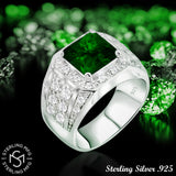 Men's Elegant Sterling Silver .925 High Polish Princess Cut Ring Featuring a Synthetic Green Emerald Surrounded by 32 Fancy Round Prong-Set Cubic Zirconia (CZ) Stones. By Sterling Manufacturers
