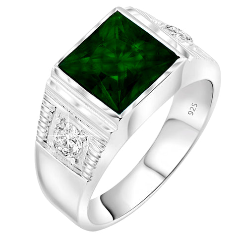 May Birthstone, Men's Sterling Silver .925 Princess-Cut Ring Featuring a Synthetic Green Emerald Stone Surrounded by 2 Fancy White Cubic Zirconia (CZ) Stones.