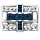 Men's Sterling Silver .925 Criss Cross Ring with 22 Fancy Blue and White Cubic Zirconia (CZ) Channel and Invisible Set Look Stones, Platinum Plated. By Sterling Manufacturers