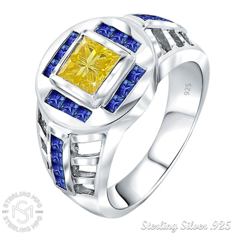 Men's Elegant Sterling Silver .925 Designer Ring with Fancy Canary Yellow and Blue Cubic Zirconia (CZ) Invisible and Channel Set Stones, Platinum Plated.