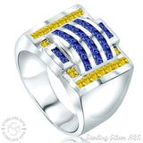 Men's Sterling Silver .925 Designer Ring Featuring 40 Canary Yellow and Azure Blue Cubic Zirconia (CZ) Channel Set Stones, Platinum Plated