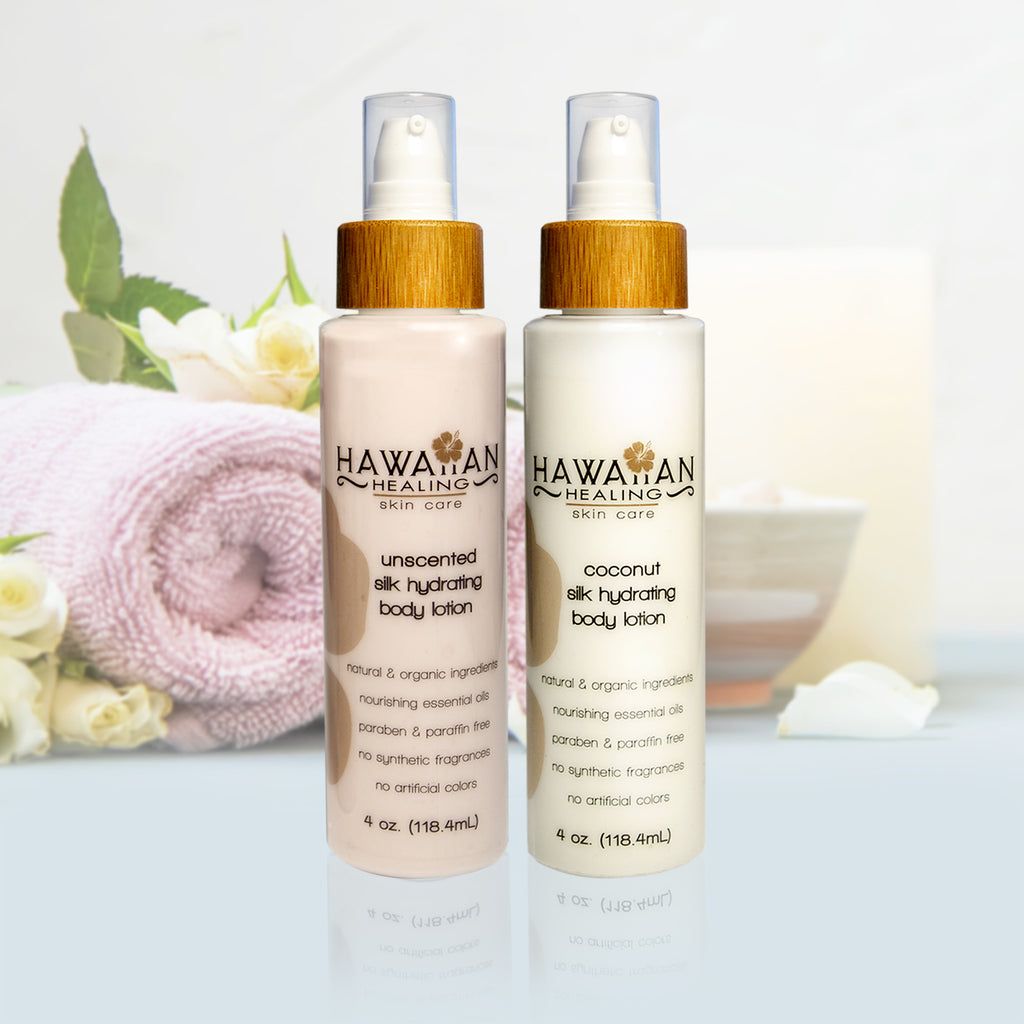 Silk Hydrating Body Lotion Set (Coconut and Unscented) - 4oz each bottle - Hawaiian Healing