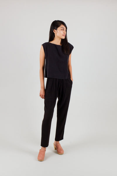 Pleated Drape Pant Black
