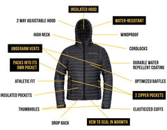 (Refurbished) Outdoor Vitals Men's Ultralight LoftTek Jacket - Portable, Athletic Fit, Warm when Wet, DWR Treated, Hooded