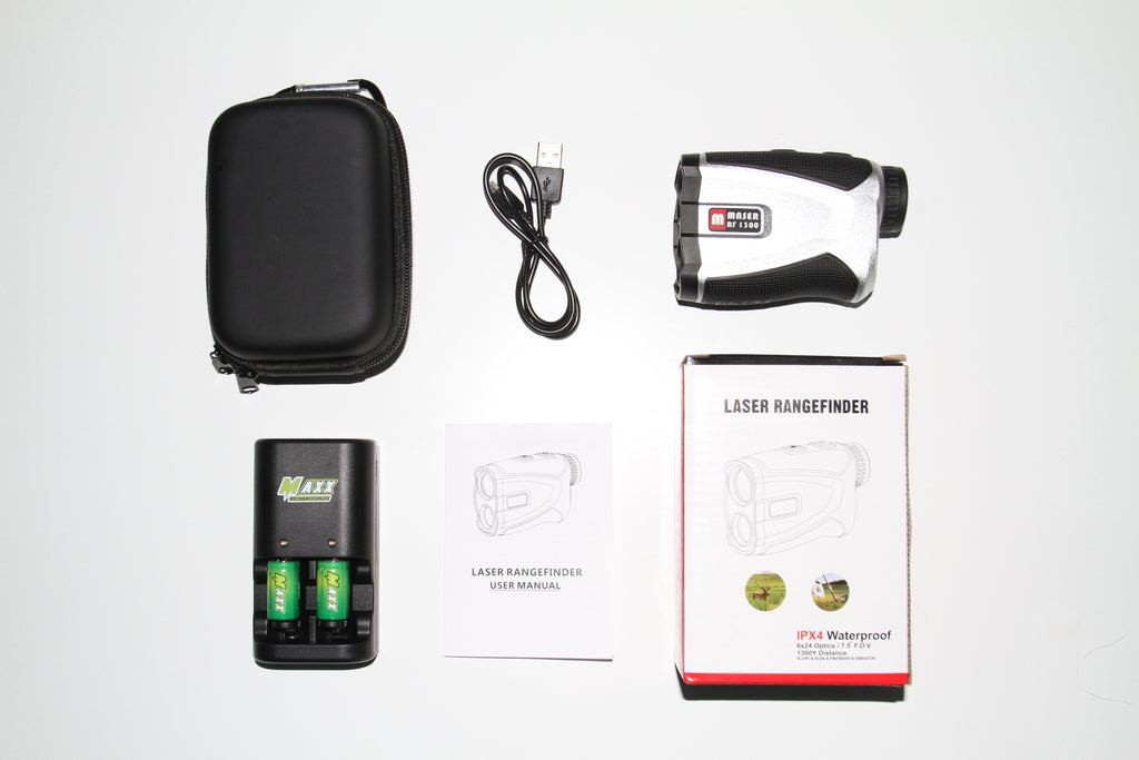 Maser RF 1300Y Laser  Rangefinder with Slope, Pinfinder & Jolt - Plus FREE Rechargeable CR2 Battery  Bundle included