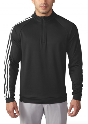 ADIDAS GOLF - Black - 3 Stripes 1/4 Zip Pullover