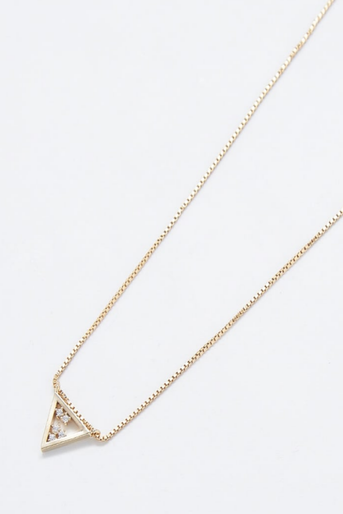 PAVE GOLD TRIANGLE NECKLACE