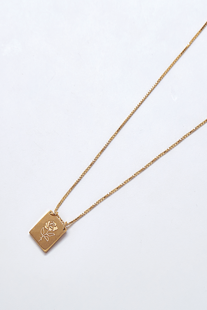 GOLD ROSE BAR PENDANT NECKLACE