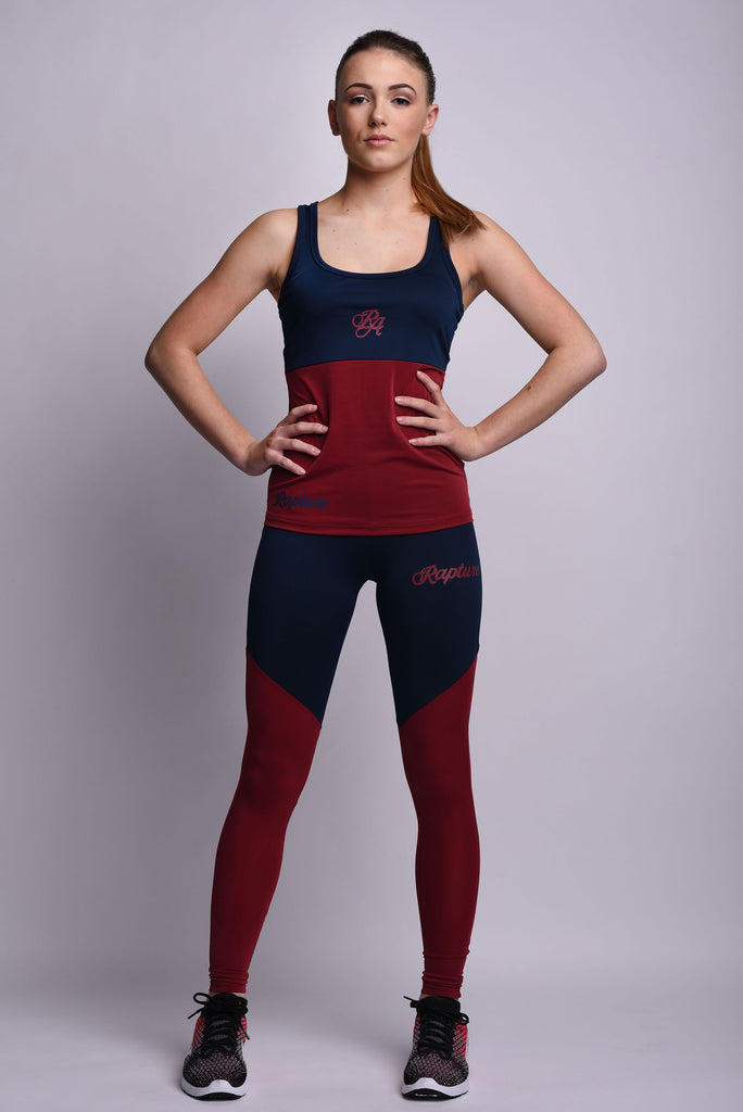 Womens Navy & Burgundy Two Piece Outfit