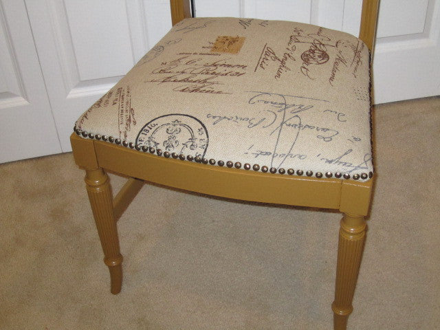Refurbished Side Chair Using Burlap Postage Stamp Fabric