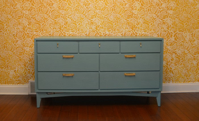 Turquoise Painted Dresser using DIY Chalk Paint