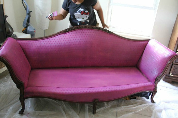 1st coat of paint - Plum Jam vintage sofa on astralriles.com