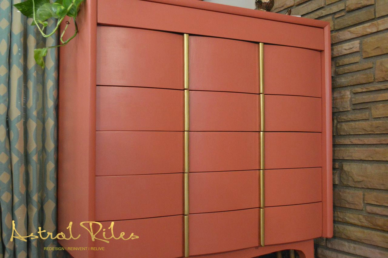 After_1_ - Coral and Gold MCM Highboy Dresser on astralriles.com