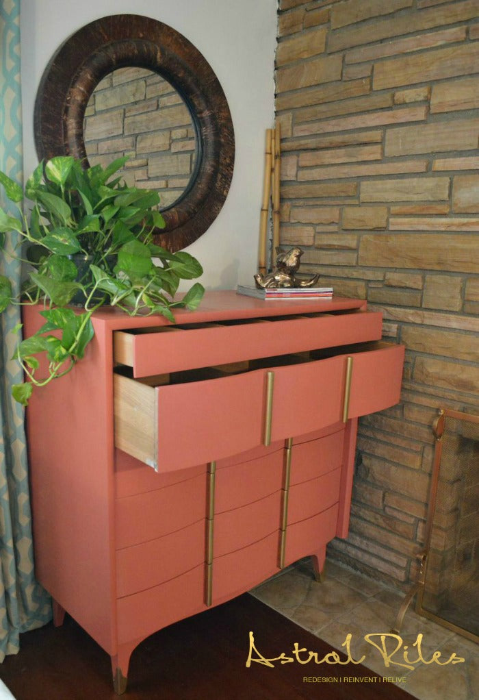 After_2_ - Coral and Gold MCM Highboy Dresser on astralriles.com