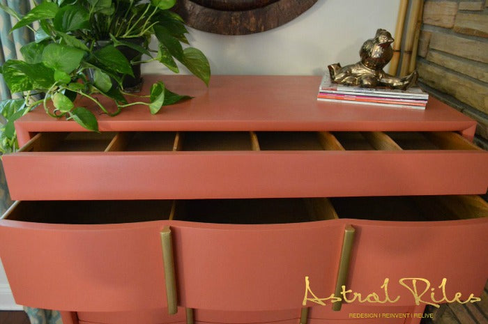 After_8_ - Coral and Gold MCM Highboy Dresser on astralriles.com