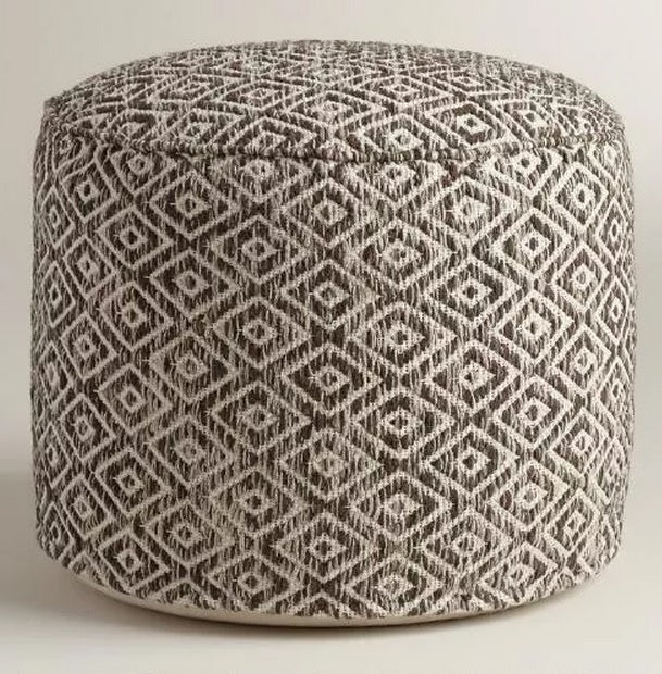 Brown and White Diamond Wool Pouf 99 WORLD MARKET on astral riles