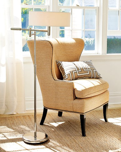 Chelsea Wing Chair, Luxe Velvet, Solid, Pewter, Antique Brass