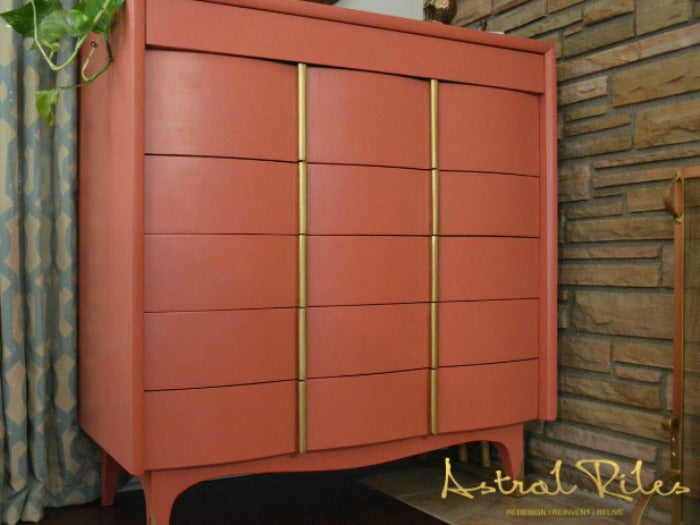 FEATURE -  - Coral and Gold MCM Highboy Dresser on astralriles.com
