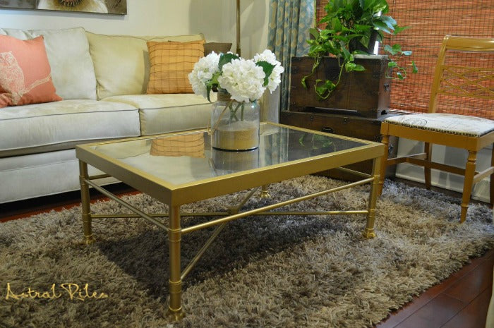 FEATURE - gold painted coffee table on astralriles.com