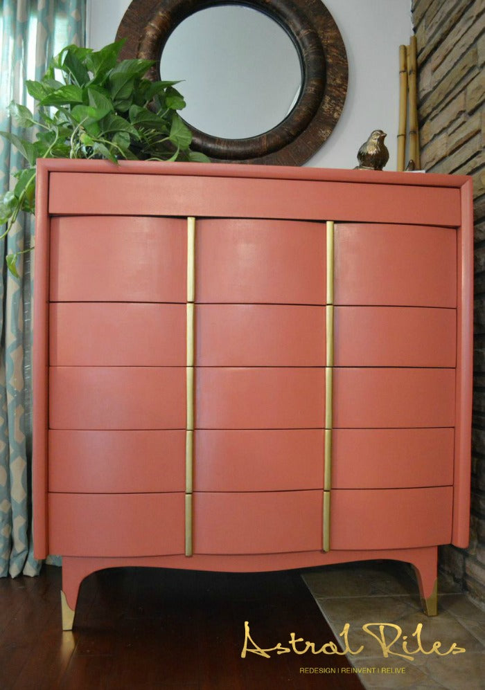 Front view_After_6_ - Coral and Gold MCM Highboy Dresser on astralriles.com