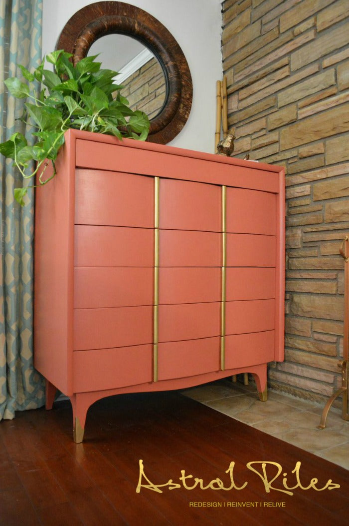 MAIN - Coral and Gold MCM Highboy Dresser on astralriles.com