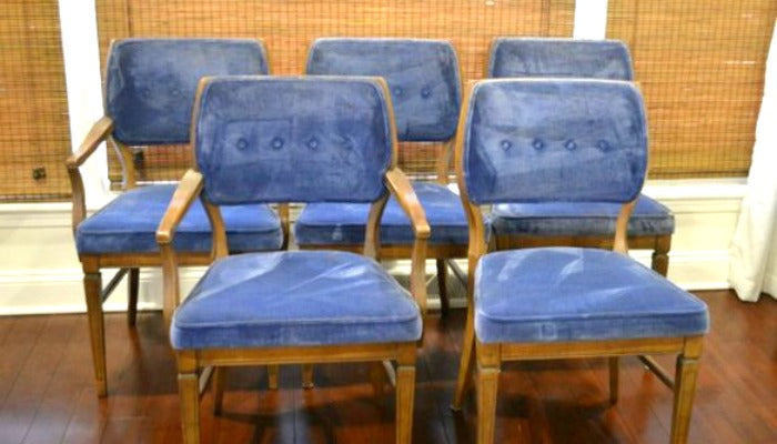 MAIN - vintage blue velvet dining chairs 2 on astralriles