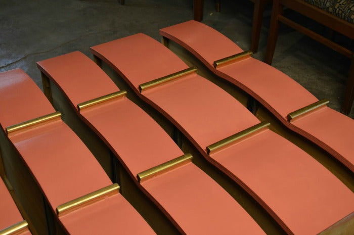 Painting drawers- FINAL COAT -  - Coral and Gold MCM Highboy Dresser on astralriles.com