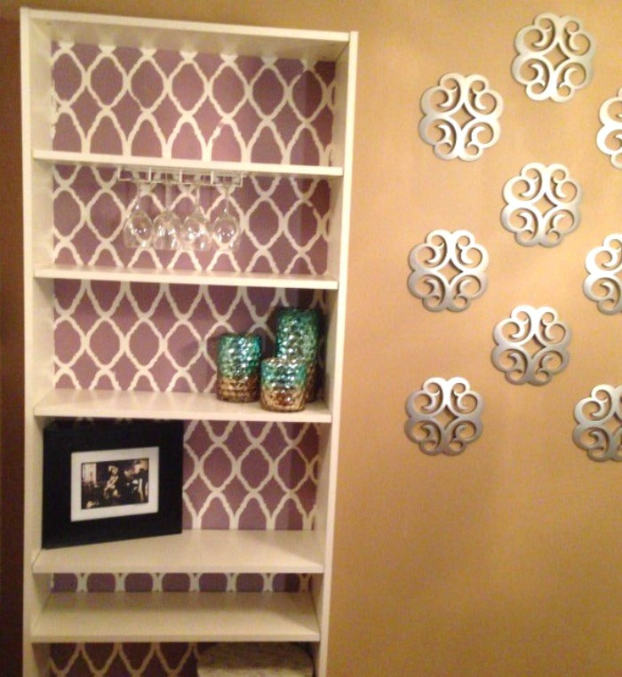 Stenciled billy bookcase 1 on astralriles.com