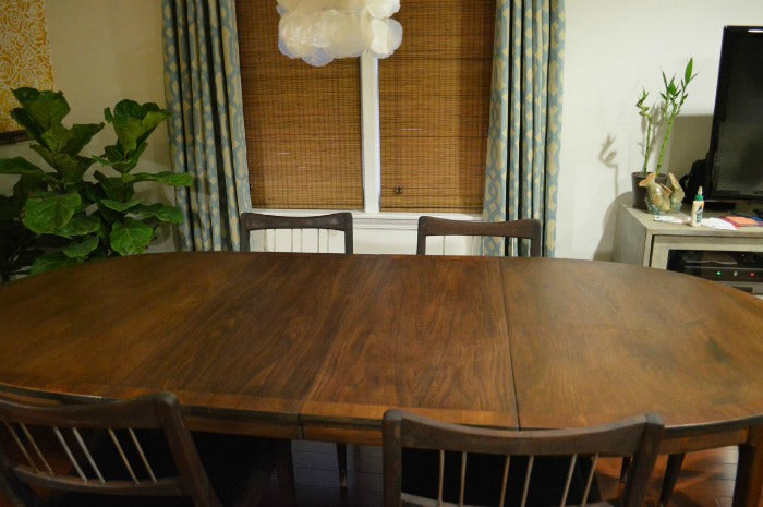 after 5 -  refinished MCM dining table on astralriles.com