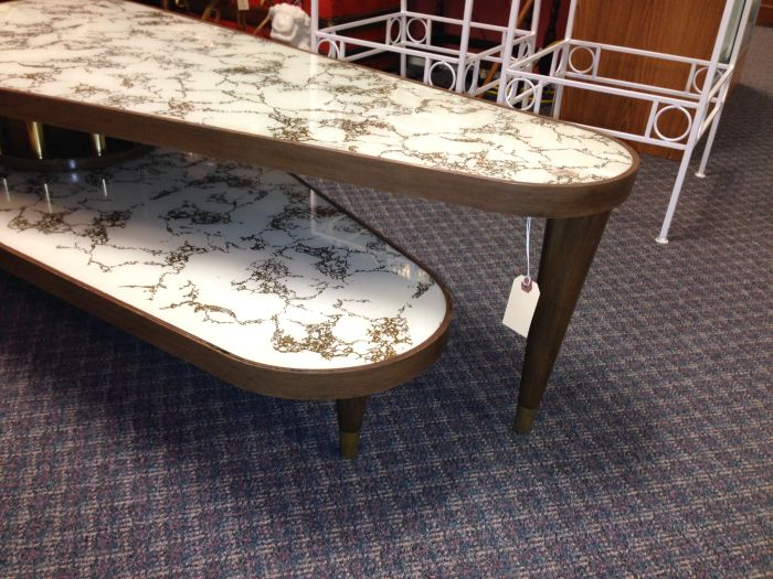 BEFORE - vintage mid century modern swivel coffee table