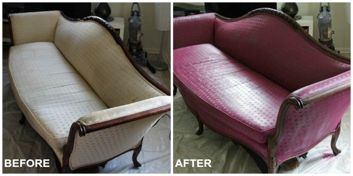 before and after grid - painted vintage sofa on astralriles.com