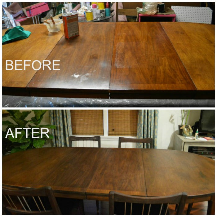 before and after mcm dining table