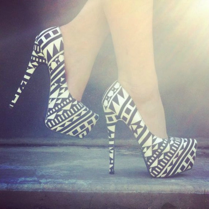 black and white aztec print heels on astralriles.com