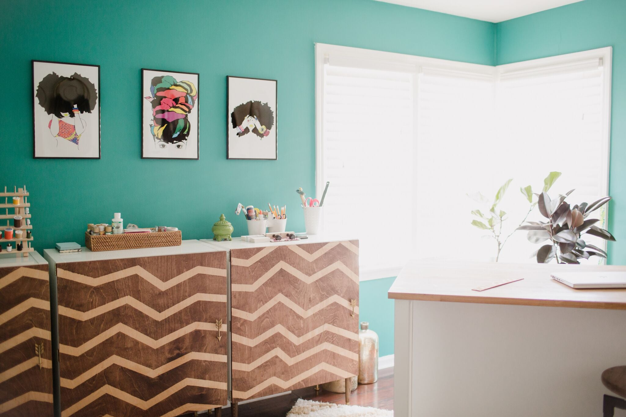 bright teal fun home office craft room on astral riles blog 40