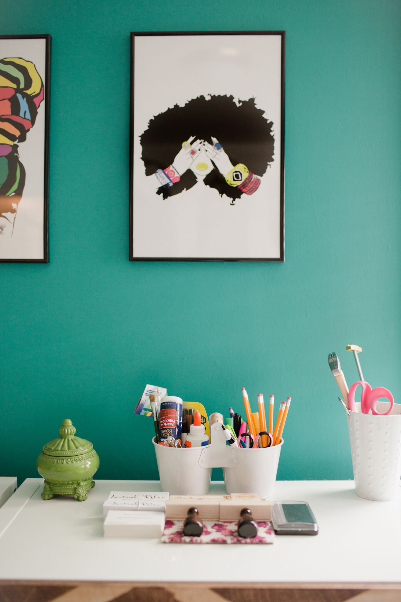 bright teal fun home office craft room on astral riles blog 44