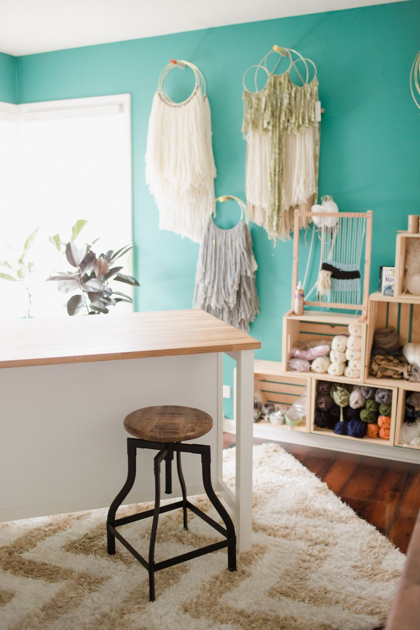 bright teal fun home office craft room on astral riles blog 45