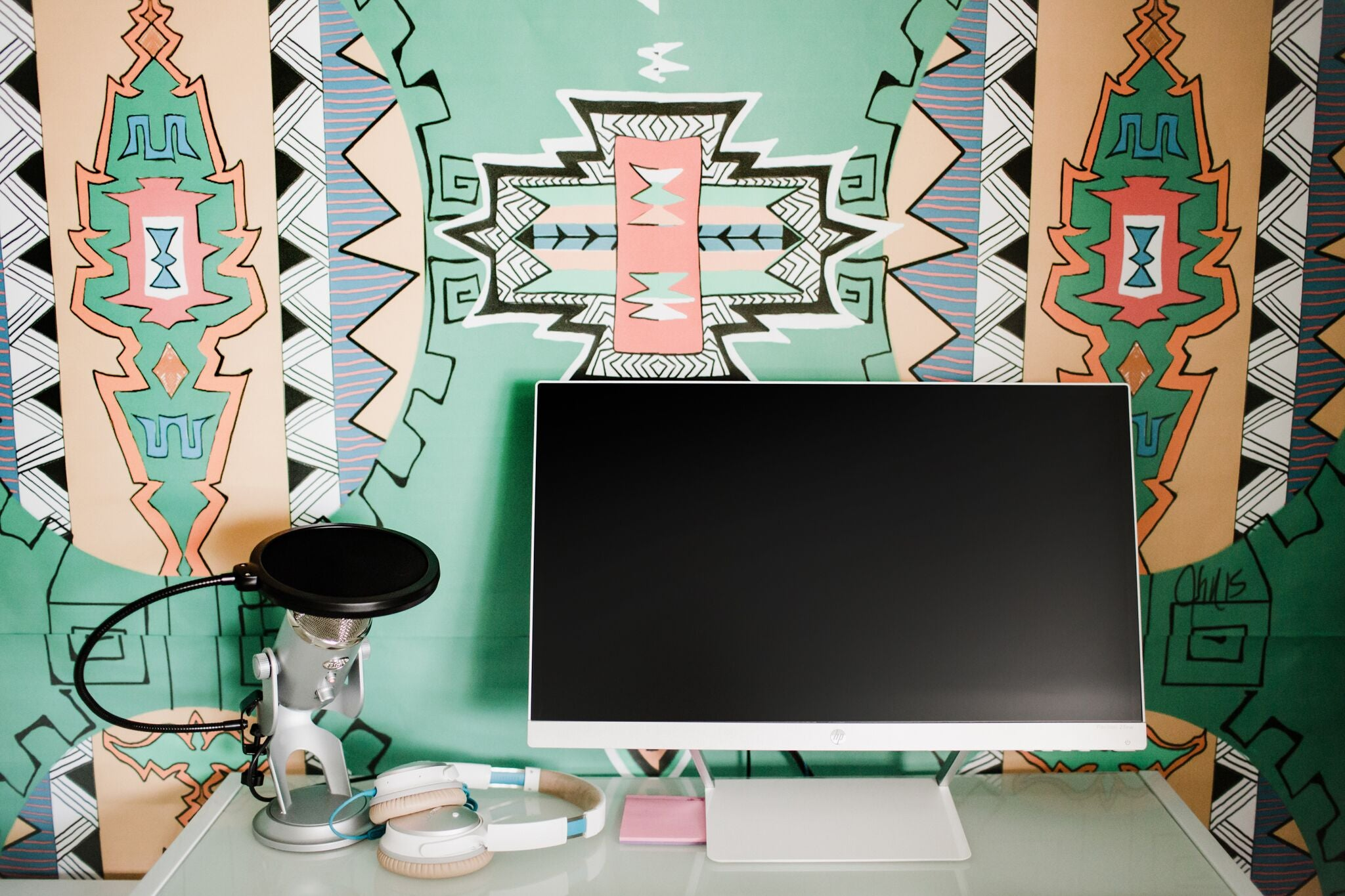 bright teal fun home office craft room on astral riles blog 46